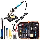 Kit de fer à souder électronique, outil de soudage à température réglable 60W 110V, 5pcs pannes à souder, pompe à dessouder, support pour fer à souder (version révisée)