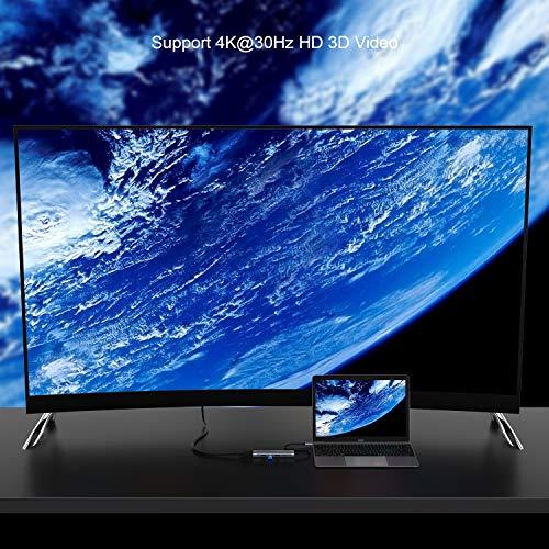 ABLEWE USB C Hub HDMI 4K 5 in 1 Adapter, USB C HDMI Hub Aluminium mit 3 USB 3.0,HDMI,Power Delivery für MacBook Pro 2017/2018,MacBook 12-Zoll mehr Type-C Geräte
