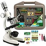 IGOSAIT Profesional Niños Avanzado Biológico Microscopio Discovery Science Tools Set 50x-1200x Kids Home School Lab Aprendizaje Educativo Juego de Juguetes Reparación Piezas/Observación Naturalez