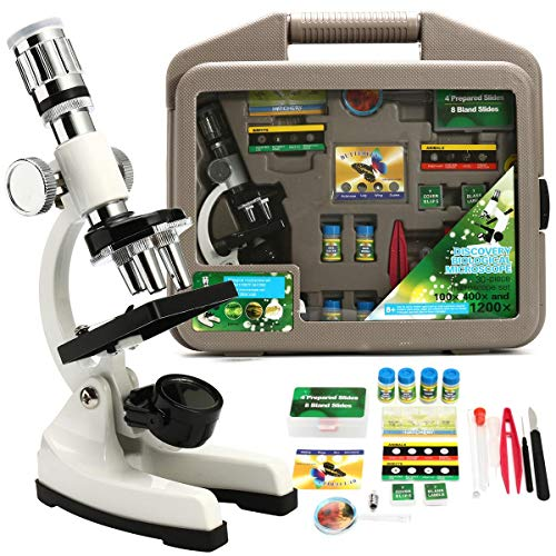 SH-CHEN Children Advanced Biological Microscope Discovery Science Tools Set 50X-1200X Kids Home School Lab Learning Educational Toys Kit