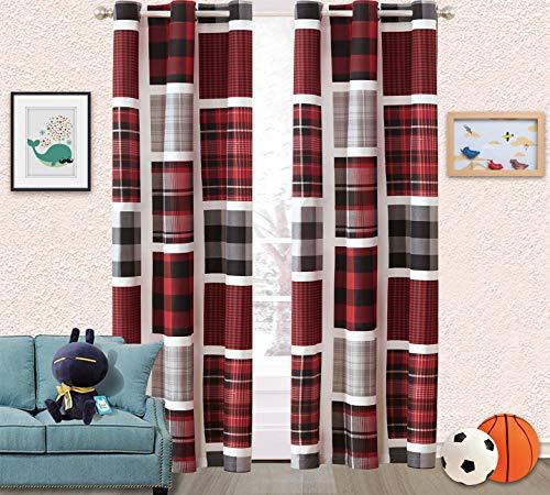 Sapphire Home Kids Boys Teens 2 Window Curtain Panels 84' Long, Plaid Stripes Checked Print Design Black Red Gray Curtains for Teens Boys Girls, Kids Bedroom Décor, Curtain Plaid