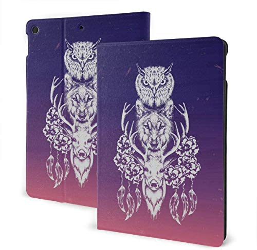 Owl Illustration Case for New IPad 7th Generation 10.2 Inch 2019 Multi-Angle Viewing Folio Smart Stand Cover Auto Wake/Sleep for IPad 10.2' Tablet-Owl, Wolf And Deer In The Style Of Tattoo-One Size