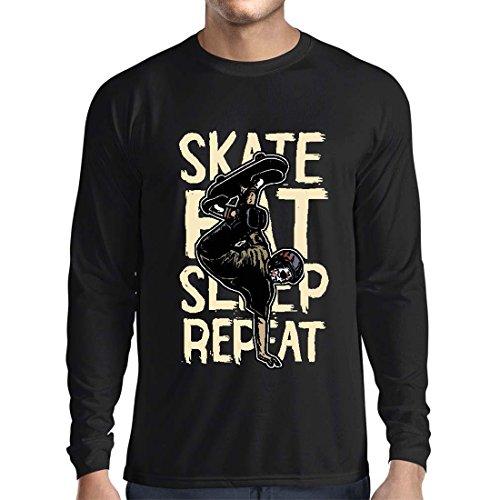 Langarm Herren t Shirts Eat-Sleep-Skate-Repeat Fro Skateboard Liebhaber, Skateboarder Geschenke, Skateboarden Kleidung (X-Large Schwarz Mehrfarben)