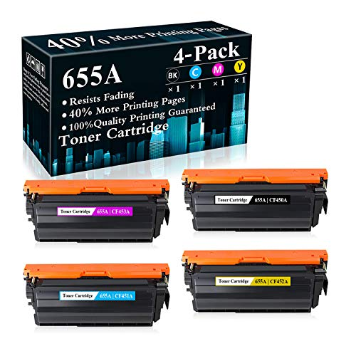 4-Pack (BK/C/M/Y) 655A   CF450A CF451A CF452A CF453A Toner Cartridge Replacement for HP Color Laserjet Enterprise M652n M652dn M653dn M653x MFP M681dh MFP M681f MFP M681f MFP M681z MFP M682z Printer