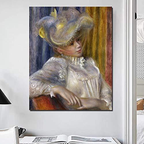 YuanMinglu Mädchen hält einen Regenschirm Leinwanddruck Wohnzimmer Dekoration Moderne Hauptwandkunst Ölgemälde Poster rahmenlose Malerei 75x93cm