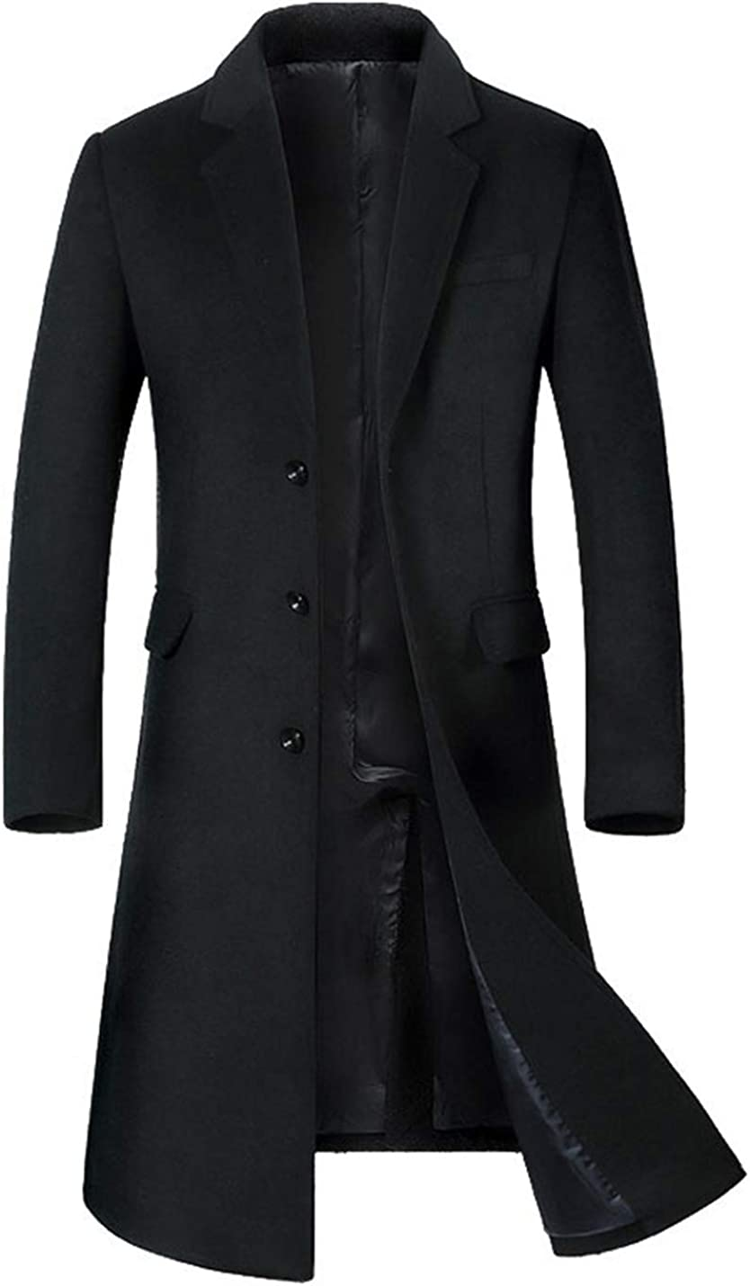 Gihuo Men's Trenchcoat Single Breasted Wool Blend Slim Fit Pea Coat