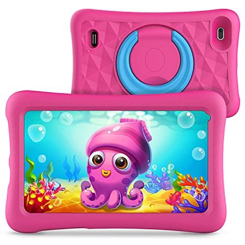 Z1 Kids Tablet de 7 pulgadas 32 GB ROM, Android 10 IPS HD Display WiFi Bluetooth Kidoz preinstalado con funda a prueba de niños (rosa)