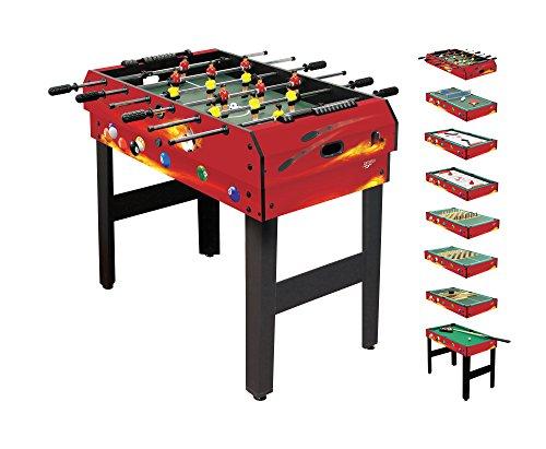 Carromco Table Multifonction - 8 En 1 - Fire De Xt Tischspiele, Multifunktionstisch, Rot/Schwarz, 92x51x78