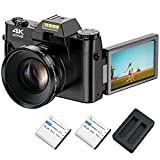 4K Vlogging Camera, Video Camera with WiFi for YouTube 4K 48MP 30FPS Digital Camera 16X Digital Zoom Camera with 180 Degree Rotatable Flip Screen Camera (Fixed Focus & Without Micro SD Card)