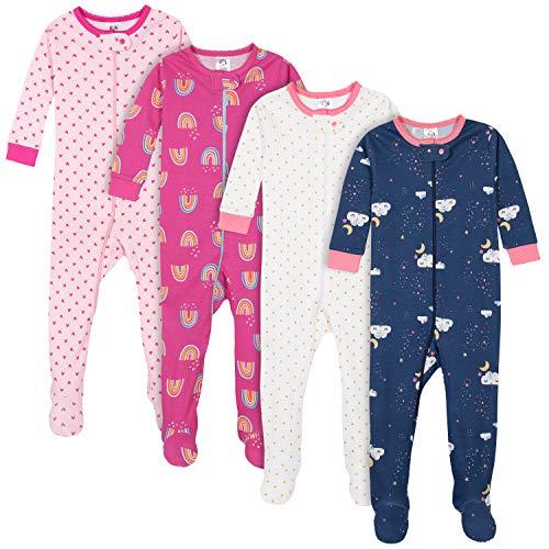 Gerber Baby Girls' 4-Pack Footed Pajamas, Dreams Rainbows Pink, 18 Months