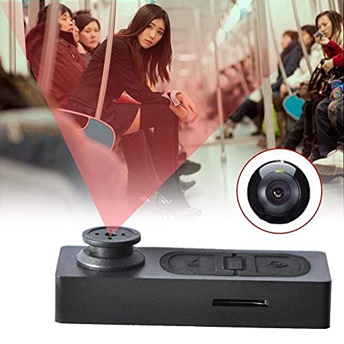 ISH Wired HD Audio and Video Recorder 720p Hidden Mini Secret Cam in Button Shape DVR Small Portable Updated Mini Spy Button Cameras with SD Card Slot Up to 32GB Support, Black