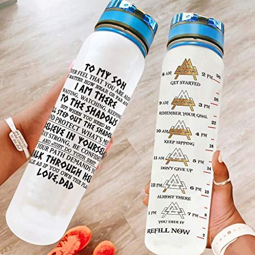 Niersensea Botella de agua con marca de tiempo para viajar, camping, deportes al aire libre, color blanco, 1000 ml