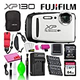 Fujifilm FinePix XP130 Waterproof Digital Camera (White) Advanced Accessory...