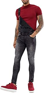 Allthemen Mens Jumpsuits Regular Fit Ripped Hole Jeans Denim Overalls Bib Dungarees Casual Playsuit