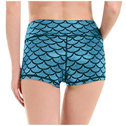Lowest Price! Women Scrunch Workout Shorts - Mid Waist Plus Size Yoga Shorts Novelty Fish Scale Shor...