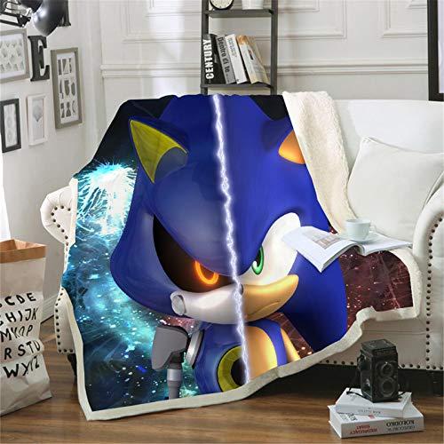 Bfrdollf Sonic Toy Sonic Sherpa - Manta de forro polar con impresión 3D para adultos y niños, adecuada para oficina, sofá, siesta, cama, salón (150 x 200 cm, 38)