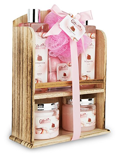 Spa Gift Basket With Lovely Pomegranate Fragrance, Best Christmas, Birthday, Wedding, Anniversary Gift for Women, Friends & Girls, Bath set Includes Shower Gel, Bubble Bath, Bath Bombs and More