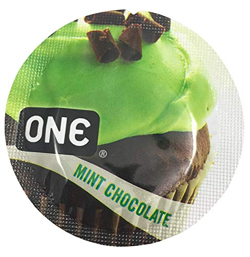 ONE Mint Chocolate with Silver Lunamax Pocket Case, Premium Flavored Latex Condoms-24 Count
