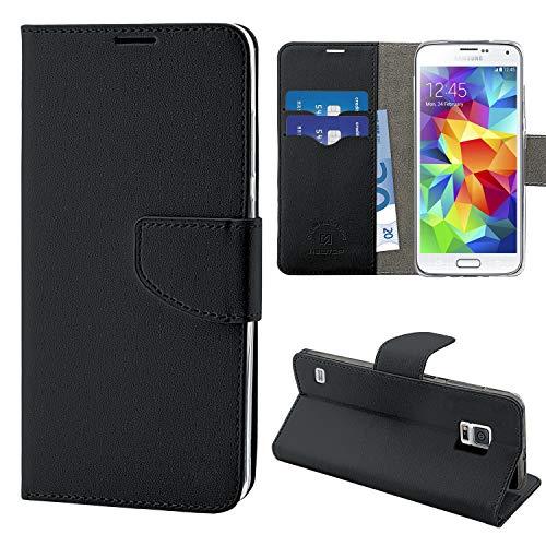 N NEWTOP Cover Compatibile per Samsung Galaxy S5 Mini, HQ Lateral Custodia Libro Flip Chiusura Magnetica Portafoglio Simil Pelle Stand (Nera)