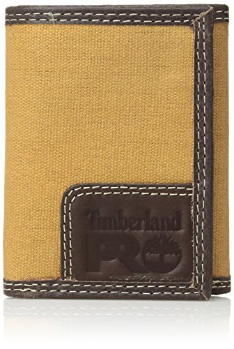 Timberland PRO Men's Canvas Leather RFID Trifold Wallet with Zippered Pocket, Khaki, One Size