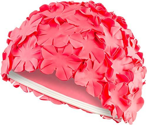 Aqua Speed Badekappe Blumen | Damen Bademütze rosa | Retro Schwimmkappe | Ladies Swim Cap | Bademütze Blüten | Badehaube für Lange Haare | Schwimmmütze Frauen | Latex | Pink | Bloom