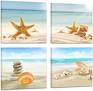 Cappla Art 4 Panel Modern Summer Concept Seascape Painting Artwork Tropical Sandy Beach Starfish Seashells Pearl Still Life Marine Canvas Picture Print Wall Art for Home Decor