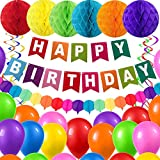 BOSCORD Birthday Decorations, Colorful Birthday Party Supplies for Men Women Children,Colorful Happy Birthday Banners, Birthday Balloons for Party Decor Suit
