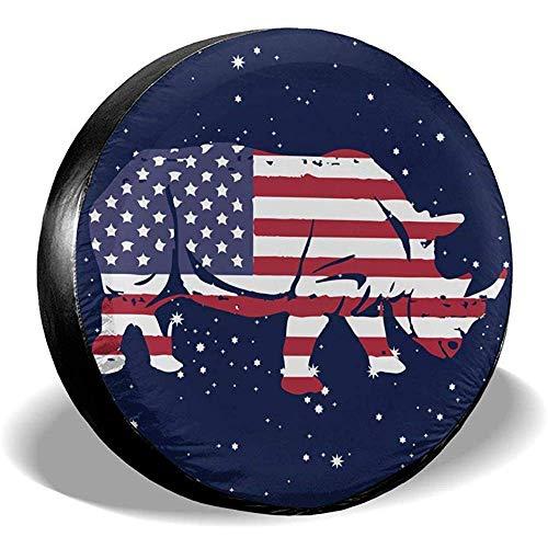 Olive Croft Amerikanische Flagge Rhino Reifen umfasst Auto SUV Travel Trailer Reserverad Reifen Abdeckung 15 Zoll