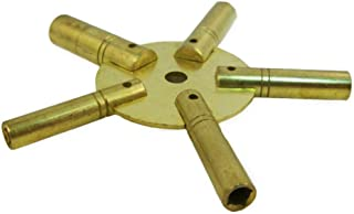 Brass Blessing Clock Winding Key (Large Clock Key for Winding Clocks 5 Prong ODD Numbers (5186))