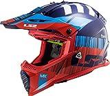 LS2 404373732XL Casco Motocross MX437 Fast Evo Xcode, Unisex, Rosso/Blu, XL
