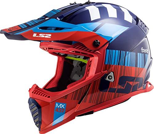 LS2 Casco Motocross MX437 Fast EVO Xcode, Rojo/Azul, XL, Accesorio Unisex para Adultos