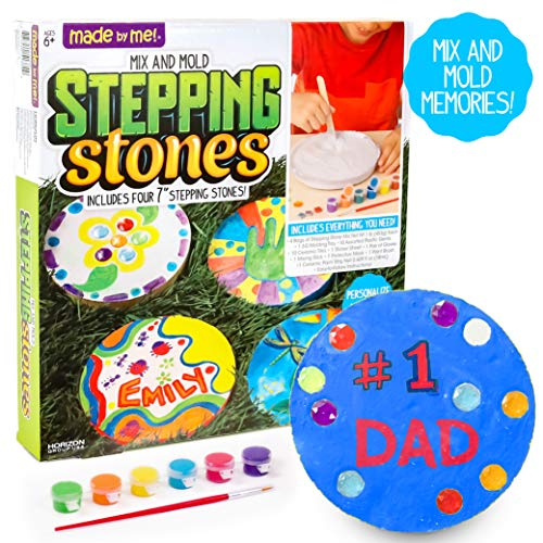 Made By Me Mix & Mold Your Own Stepping Stones by Horizon Group USA, Make 4 DIY Personalized Stepping Stones, Molding Tray, Decorative Gemstones, Paint Pots, Paint Brush, Gloves & Sticker Sheet Includ JungleDealsBlog.com