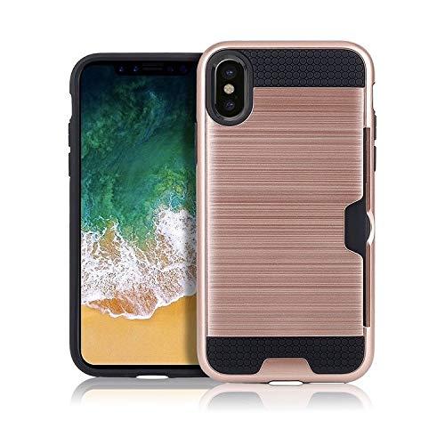 H-HX telefoonhoes beschermhoes, telefoonhoesje, ultradunne TPU + PC geborsteld textuur stootvaste beschermhoes met kaartsleuf voor iPhone X/XS (zwart), roze goud