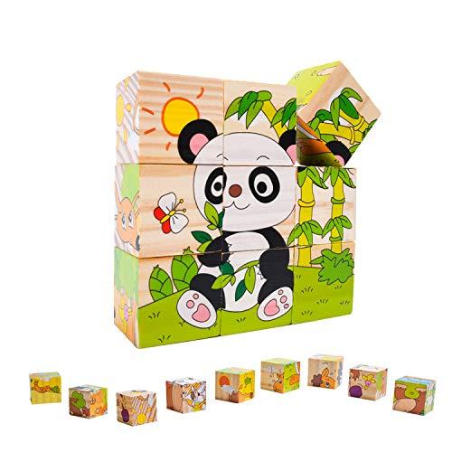 EKKONG Puzzles de Madera ,Animales Rompecabezas ,Juguetes Bebes, Puzzles de Madera Educativos para Bebé, Juguetes niños 0-3 años