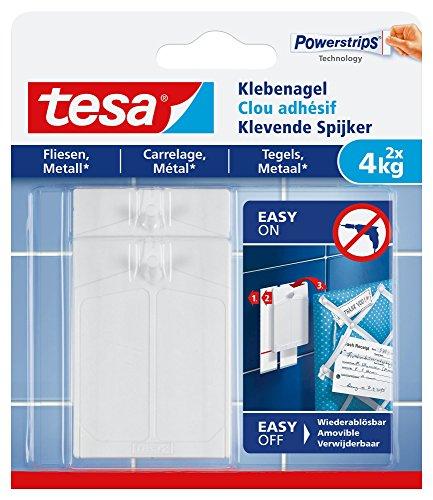 tesa Klebenagel für Fliesen und Metall - Selbstklebender Wandnagel für feste, glatte Oberflächen in Bad und Küche - Bis zu 4kg Halteleistung