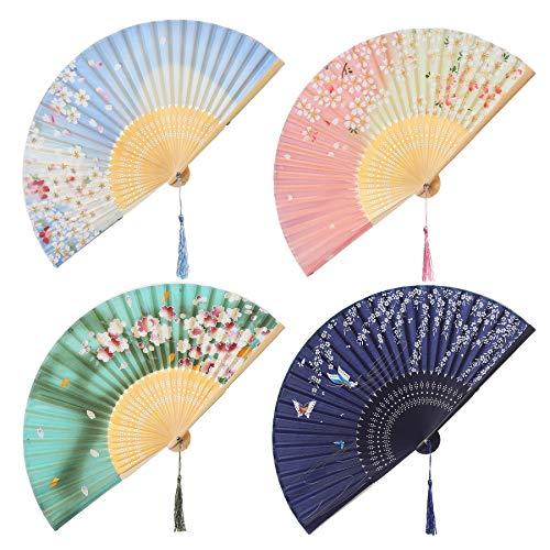 ArtiDeco 4pcs Abanico Plegable de Mano de Estilo Japonés con Dibujos Florales Abanico de Mano de Seda Decoración de Fiesta de Boda