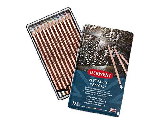Lápis de Cor Permanente Metallic 12 Cores Estojo Lata Derwent, 2305599