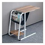 Notebook Tisch Workstation, Mobiler Schreibtisch Rollbarer, Abgerundete Ecken, for Wohnzimmer, Patientenversorgung Snack Beistelltisch Couch (Color : Old Oak)