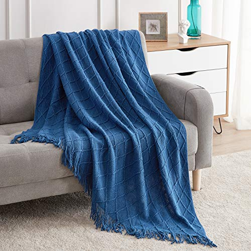 """Bourina Textured Solid Soft Sofa Throw Couch Cover Knitted Decorative Blanket,Royal Blue 50""""x60"""""""