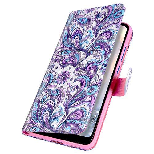 MoreChioce kompatibel mit LG G8 ThinQ Hülle,kompatibel mit LG G8 ThinQ Lederhülle,Bunt 3D Bling Glitzer Klapphülle Flip Case Brieftasche Magnetische mit Standfunktion,Whirlpool Blume