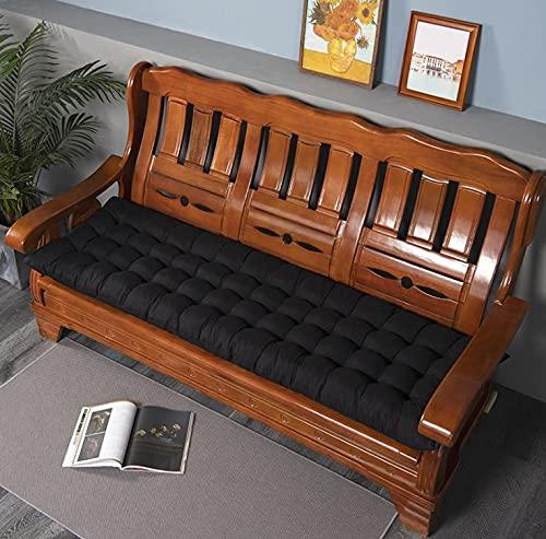 Lovemorebuy Cojín para tumbona con lazos, cojín grueso de repuesto para sillón reclinable, tumbona, jardín, interior y exterior (sin silla), color negro, 53 x 53 cm