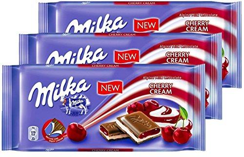 Milka Cherry Cream Milk Chocolate, 100g/3.5oz (Cherry Cream, PACK OF 3)
