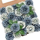 Ling's moment Roses Artificial Flowers 25pcs Realistic Dusty Blue Fake Roses w/Stem for DIY Wedding Bouquets Centerpieces Floral Arrangements Decorations