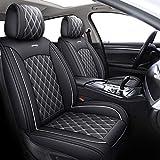 YIERTAI Car Seat Covers Full Set Waterproof Leather Seat Protectors Fit for Rogue Maxima Honda Accord CRV Toyota Corolla RAV4 Hyundai Sonata Escape Sorento Kia Soul(Full Set, Black-White)