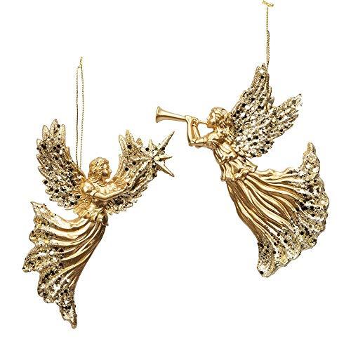 WBH - Juego de 2 Adornos para árbol de Navidad (plástico, 18,5 cm), diseño de ángel Celestial, Color Dorado