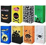 Bolsa Regalo de dulces de Halloween,bolsas para chuches de Halloween, 24 Bolsas papel kraft de Halloween con 30 pegatinas de Halloween, para suministros de fiesta de Halloween, 8 estilos