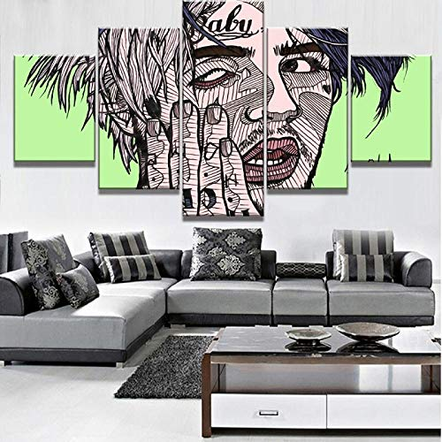 LYSBHX Modulare 5-Teilige Leinwand Kunst Kreative Cartoon Junge Poster Moderne Dekorative Malerei Leinwand Wandkunst Hauptdekoration Wanddekoration 150X100Cm Modern Bild Wandbilder Kunstdrucke 5 Teil