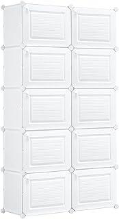 40 Pairs Stackable Shoe Storage Box Organiser Cube DIY Shoe Cabinet Rack Shelf 20 Tier White