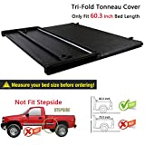 RAFTUDRIVE Assembly Lock Tri-Fold Tonneau Cover fit 2005-2015 Toyota Tacoma 5 ft (60.3 inch) Short Bed, Not Fit 6 Ft Bed