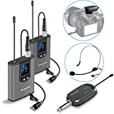 Wireless Headset Lavalier Microphone System -Alvoxcon Dual Wireless Lapel Mic...